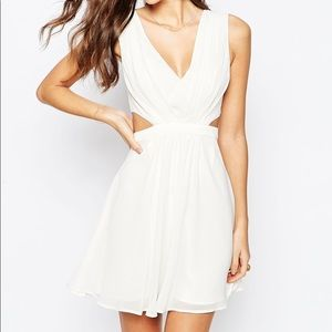 ASOS side cut out white fit & flare mini dress
